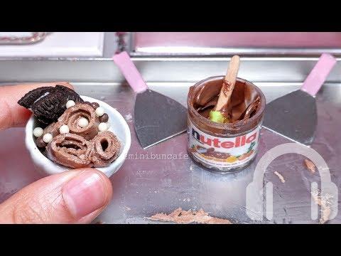 mini food Real Nutella Ice Cream Rolls + Strawberry jelly roll FAIL - NO TALK ASMR
