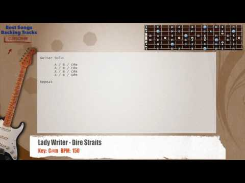 Lady Writer - Dire Straits Guitar Backing Track with chords and lyrics