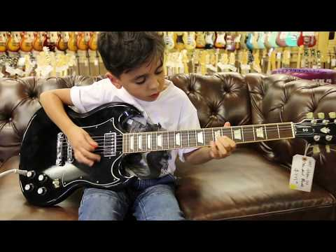8-year-old Jayden Tatasciore playing our Gibson SG Standard here at Norman's Rare Guitars
