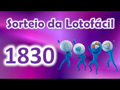 LOTOFÁCIL RESULTADO CONCURSO 1830