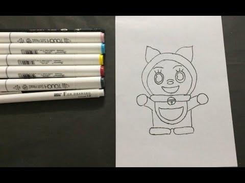 Bé tập học vẽ và tô màu Dorami em của Doraemon KID DRAW PAINT COLOR CARTOON