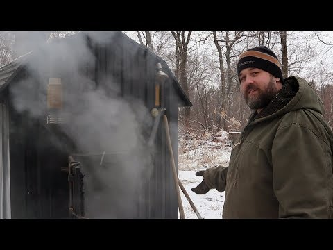 This is spring on the homestead? Stoking the outdoor wood boiler. |  vlog #1