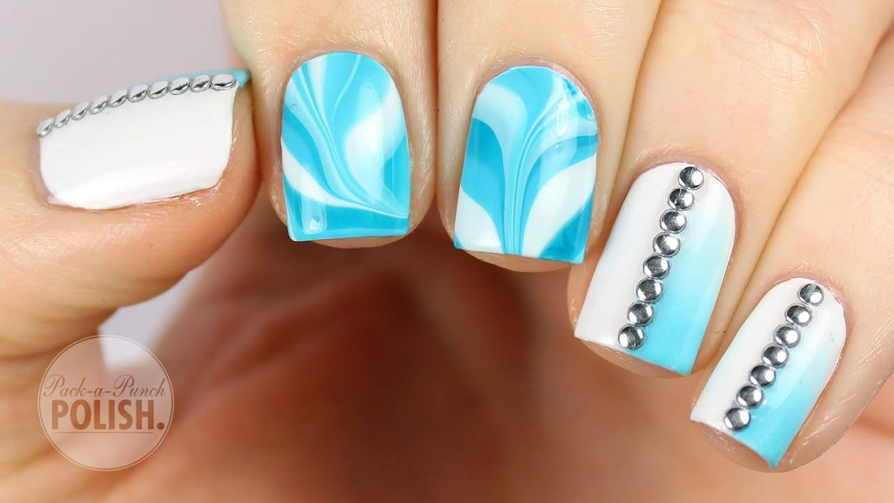 Blue Water Marble And Gradient With Studs Nail Art Tutorial
