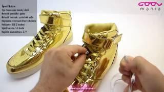 Sneakers tenisky svietiace s LED - zlaté (www.cool-mania.eu) 033d40e3e91