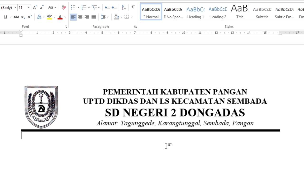 Membuat Kop Surat Word 2013