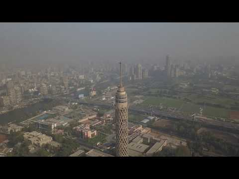 Cairo Tower, Nile, Egypt by  Drone 4k