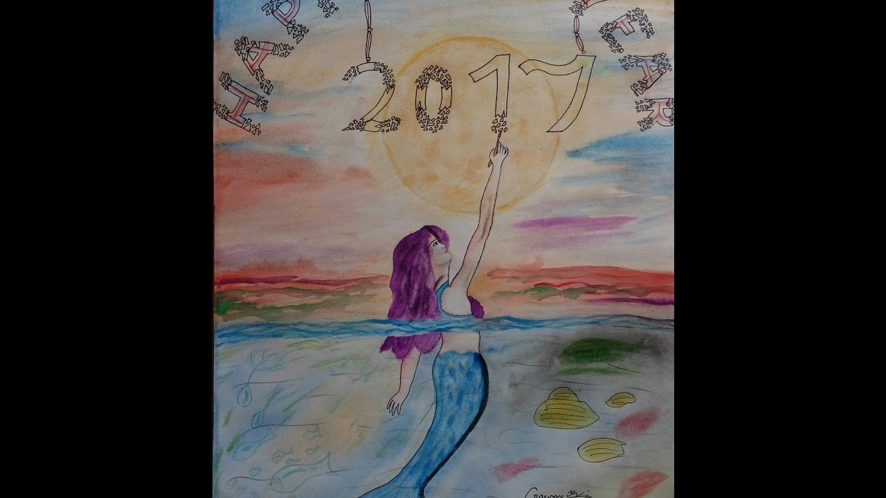 How To Draw Happy New Year Watercolor Painting Easy But Beautiful