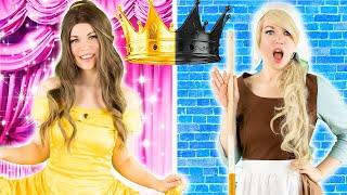 RICH PRINCESS vs. BROKE PRINCESS / The Story of Princesses RAGS to RICHES | BELLE, CINDERELLA, ARIEL