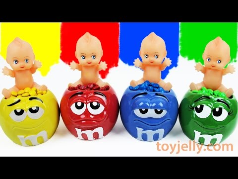 Thumbnail: Baby Doll M&M's Chocolate Surprise Egg Cups Peppa Pig Learn Colors Finger Family Song Nursery Rhymes