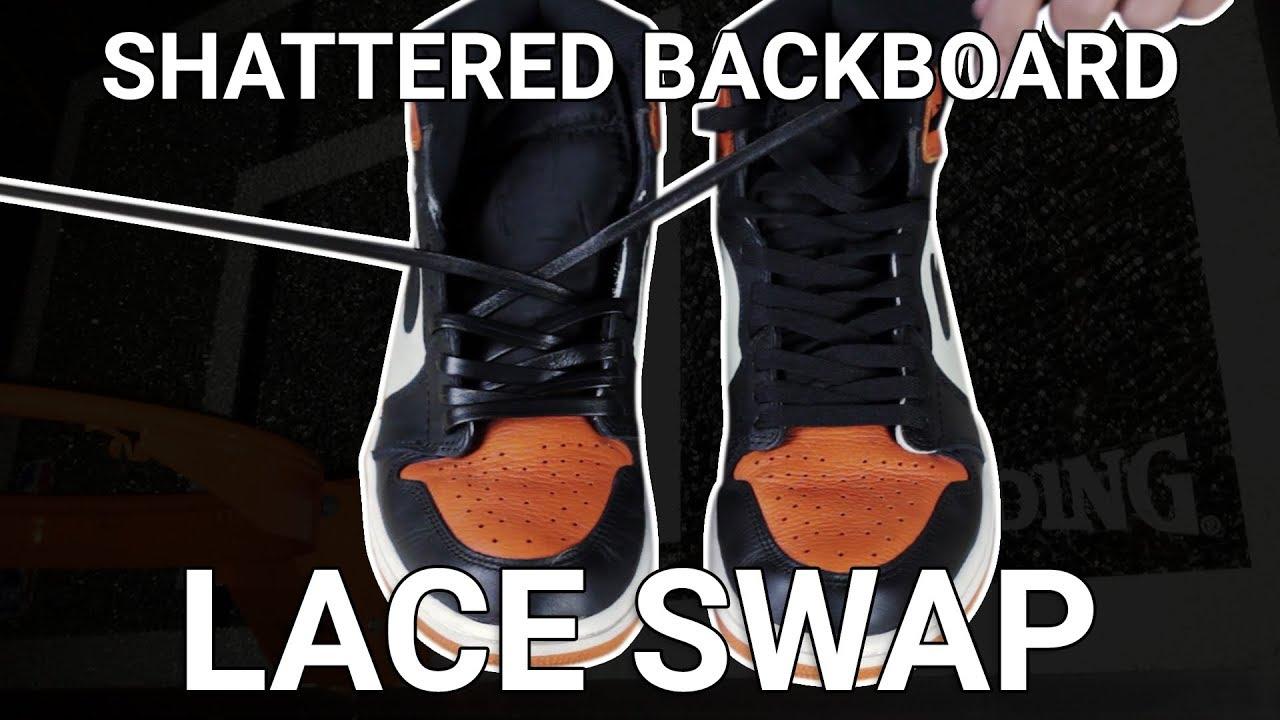 2450e7f3ec0107 Jordan 1 Shattered Backboard s - Leather Lace swap! - YouTube