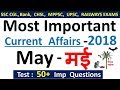 Current affairs : May 2018 | Important current affairs 2018 |  latest current affairs Quiz