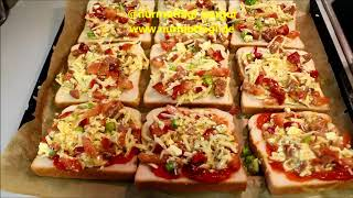 Bayat Ekmekten Yumurtali Peynirli kahvaltilik ekmekler, tost ekmekten mini pizzaciklar, Nurmutfagi