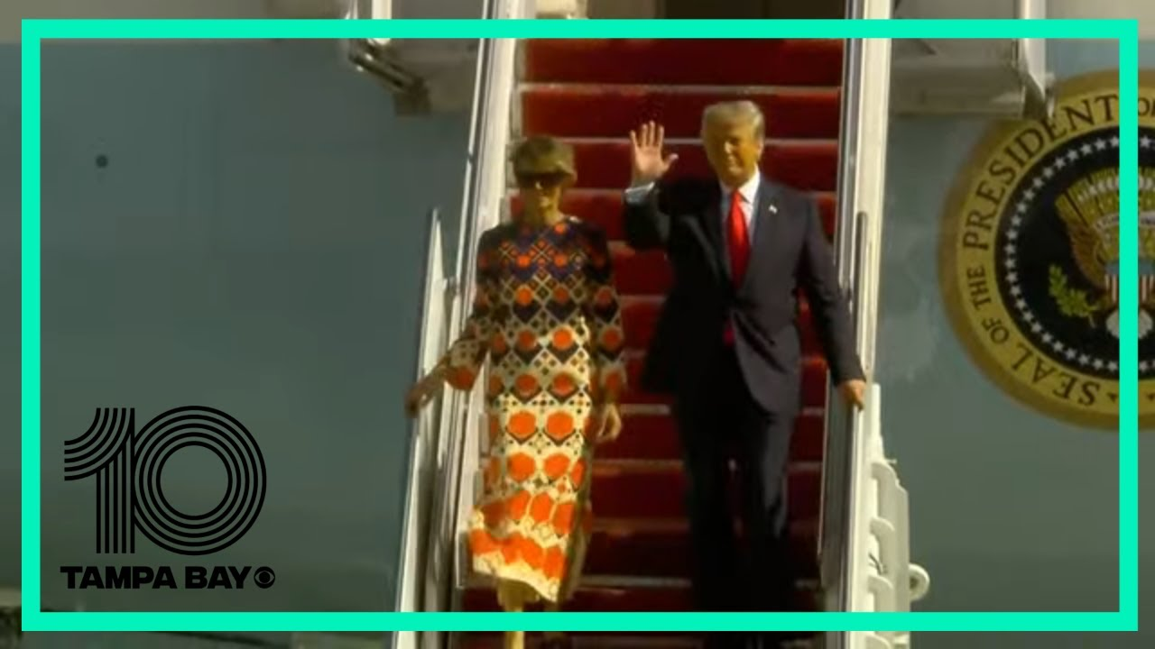 President Trump arrives in West Palm Beach aboard Air Force One - download from YouTube for free