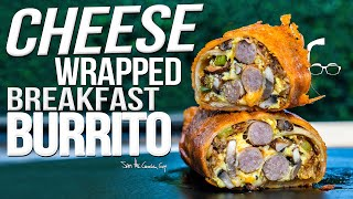 CHEESE WRAPPED BREAKFAST BURRITO | SAM THE COOKING GUY 4K