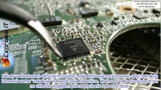 Naprawa laptopa HP Pavilion DV5. Wymiana przetwornicy procesora CPU. Lutowanie układu QFN 48 pin.