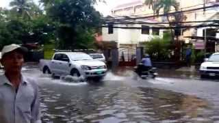 Asia Flood - Phnom Penh Streets After 3 Hours Of Heavy Rain