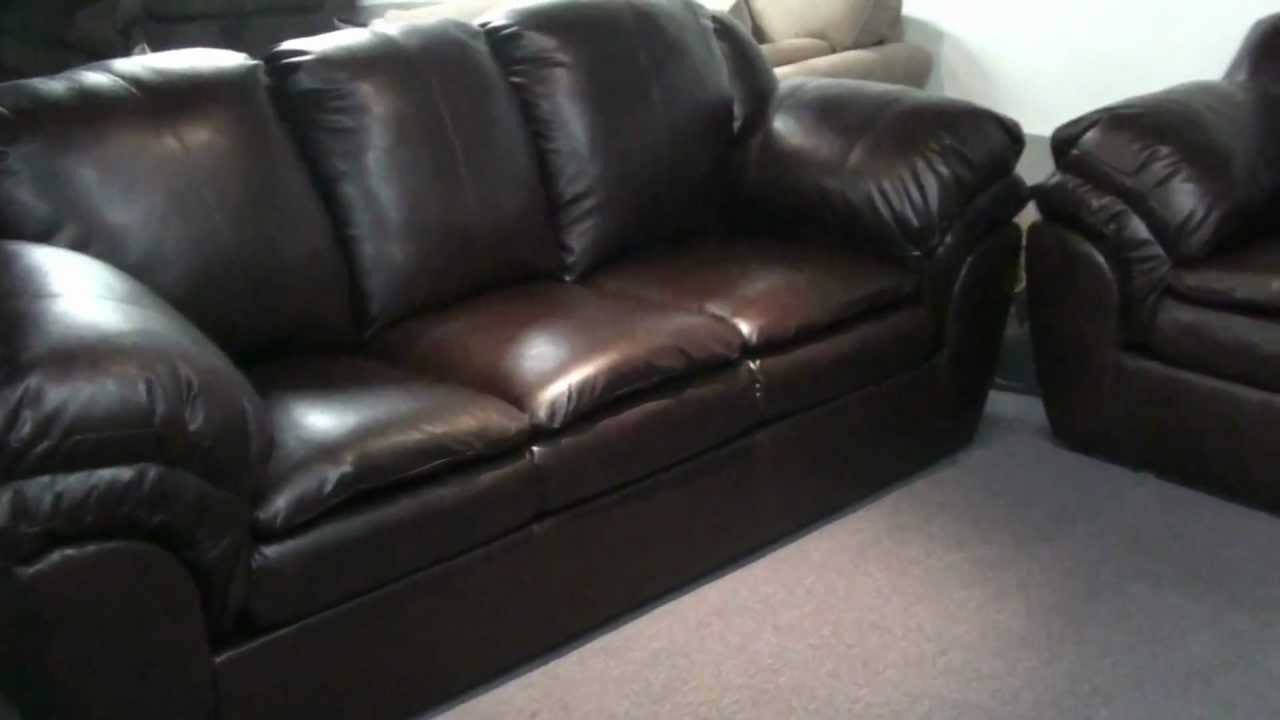 - Ashely Furniture By Signature Design Faux Leather Plush Sofa And Love -  YouTube