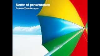 Umbrella on the Beach PowerPoint Template by PoweredTemplate.com