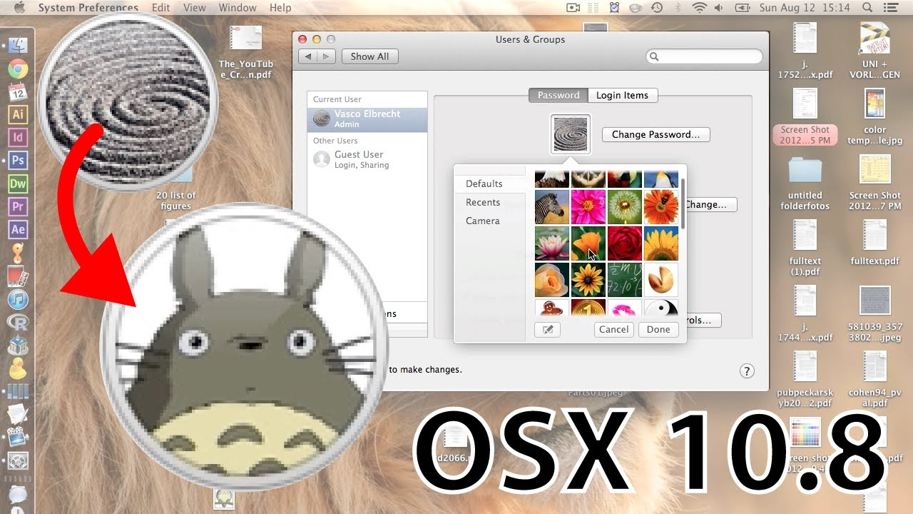 How to change your User & Login Picture in Mountain Lion (OSx 10 8)