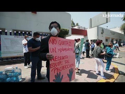 Personal de salud del INER protesta por falta de insumos adecuados para atender pacientes Covid-19