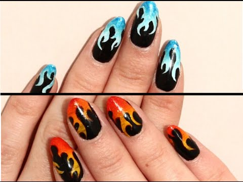 DIY Easy Fire and Ice Flame Nail Art Tutorial