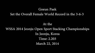 Sport Stacking Female 3-6-3 Overall World Record 2.203