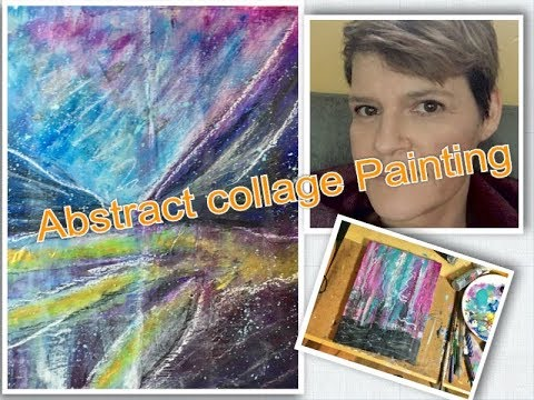 Abstract collage painting demo art vlog entry Jan (2018)