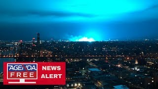 Explosion Causes Strange Blue Light in NY - LIVE COVERAGE