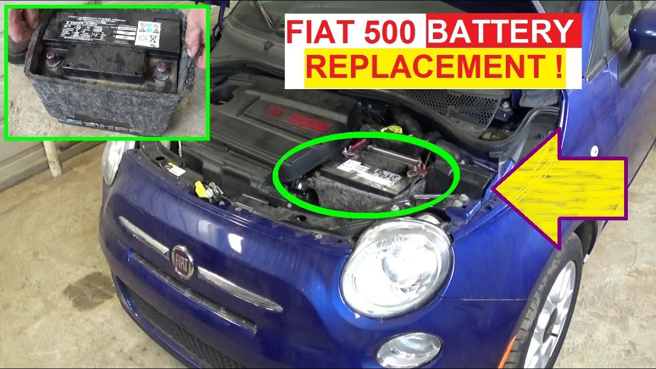 battery replacement on fiat 500 2008 2009 2010 2011 2012 2013 2014 2015 2016 youtube. Black Bedroom Furniture Sets. Home Design Ideas