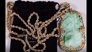 14K Gold Jade & Diamond Necklace Watches Tiffany & Co Thrift Hunter Estate Sale Jewelry Finds #165