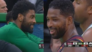 Kyrie Irving Tries Not To Laugh As Tristan Thompson Gets Booed By Celtics Crowd For Trash Talking!
