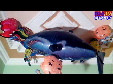 Balon Karakter Mainan - Toys Kids Balloon Air Swimmer Shark, Upin Ipin, Spongebob, Nemo,Ikan