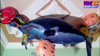 balon karakter mainan   toys kids balloon air swimmer shark  upin ipin  spongebob  nemo ikan