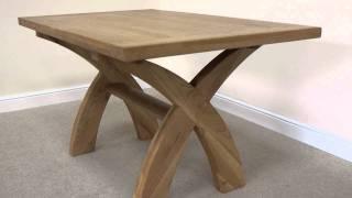 Country Oak 1.4m Cross Leg Fixed American Oak Dining Table