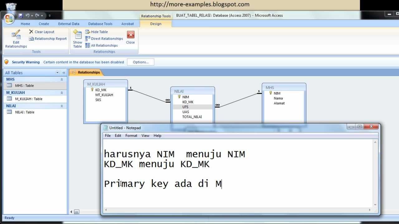 Tutorial microsoft access 2007 membuat relasi antar table for Table design query