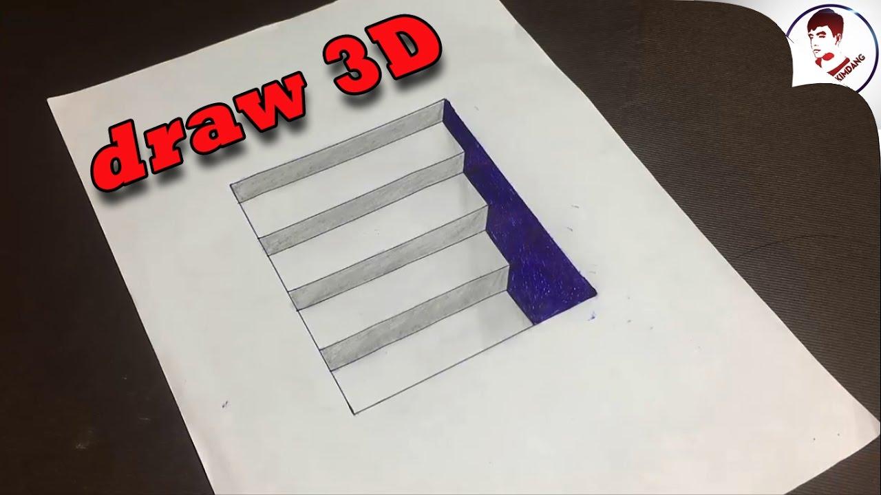 Làm NTN để vẽ CẦU THANG XUỐNG HẦM 3D đánh lừa thị giác Siêu Ảo