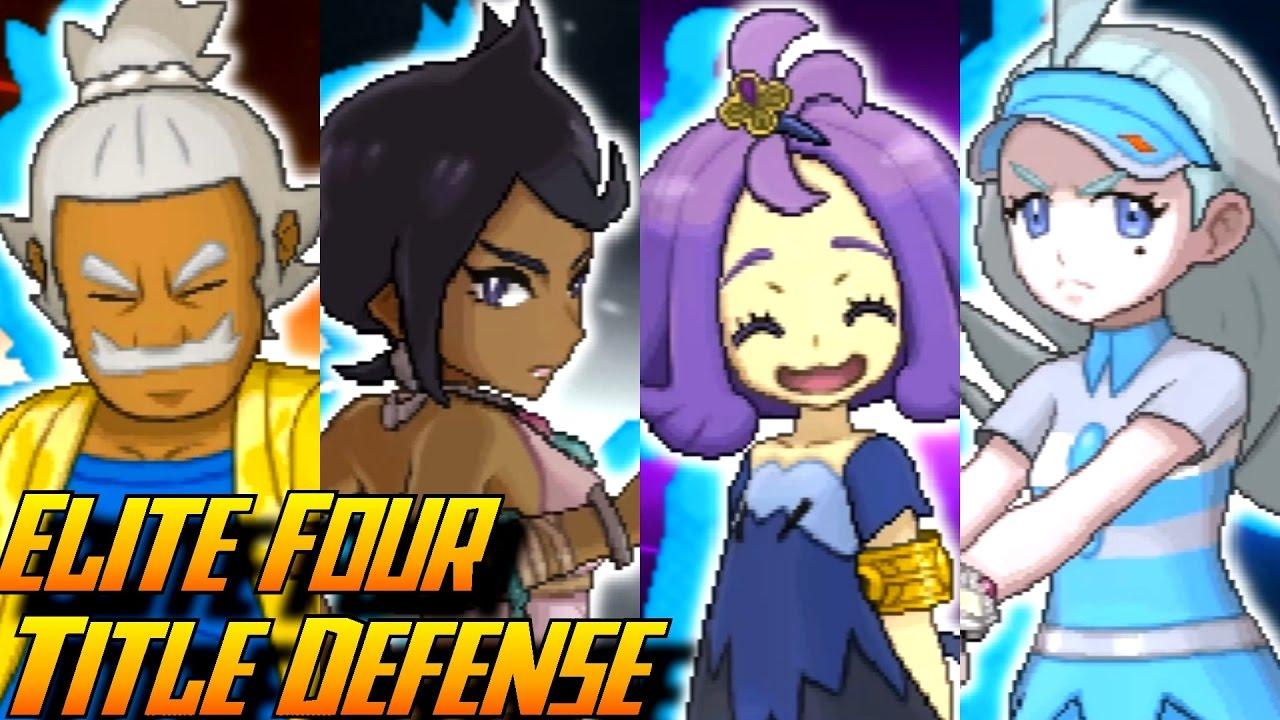 pokémon sun and moon elite four rematch title defense youtube