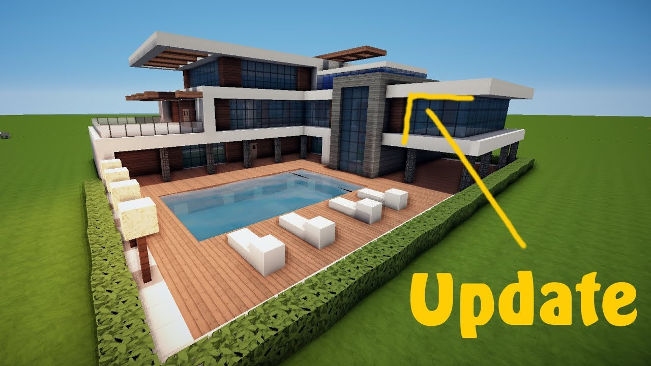 Update gro es modernes minecraft haus mit pool bauen for Minecraft modernes haus 20x20