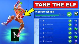 How to Get Take the Elf Emote - Day 8 REWARD - 14 Days of Fortnite Challenges for FREE Rewards