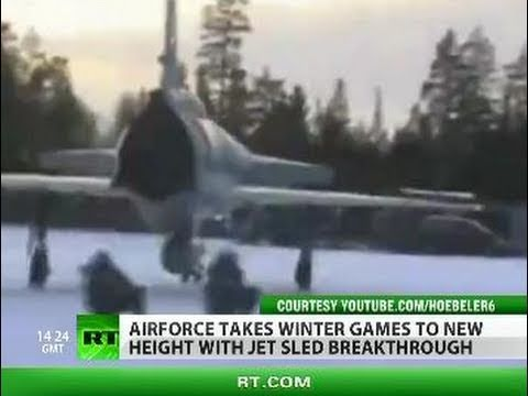Crazy Fighter Jet Sledding by Swedish Air Force
