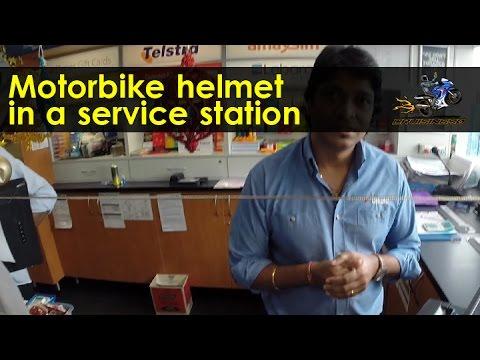 Motorbike helmet in a service station