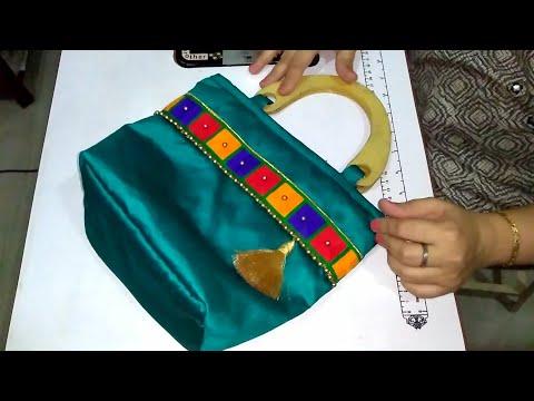 DIY Premium Designer Purse, Indian Saree Bag, Jari Lace Purse, घर पर बनाइये बाजार जैसा पर्स