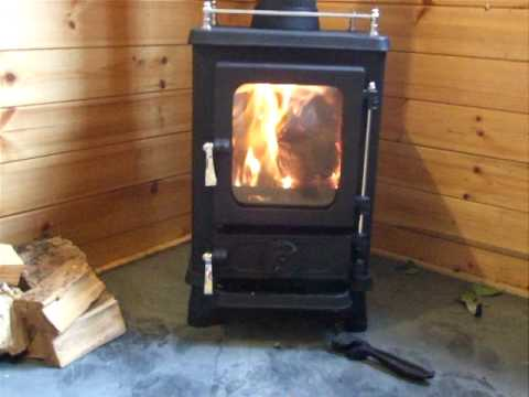 Small wood stove with secondary combustion - Small Wood Stove With Secondary Combustion - YouTube