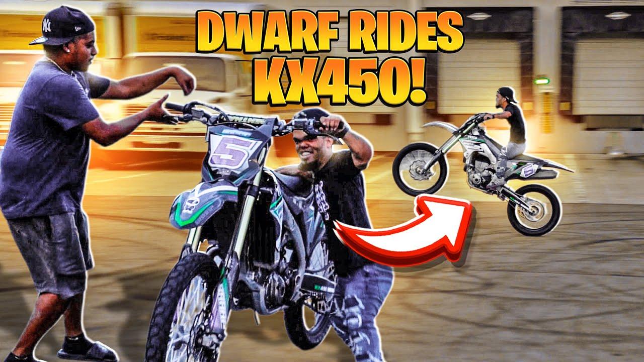 DWARF RIDES 450 DIRTBIKE BIGGER THEN HIM ! | BRAAP VLOGS