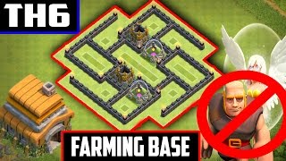 THE BEST ULTIMATE TH6 FARMING BASE! - Clash Of Clans! (ANTI-HEALER/GIANTS)