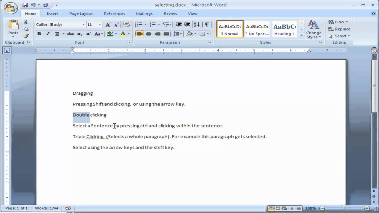 How to select text in Microsoft Word - Multiple ways