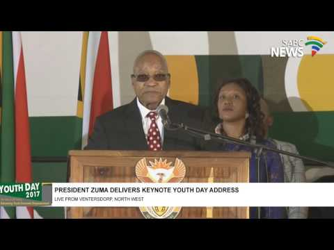 "Young people disrupt Pres. Zuma Youth Day commemoration speech chanting ""Zuma must go"""