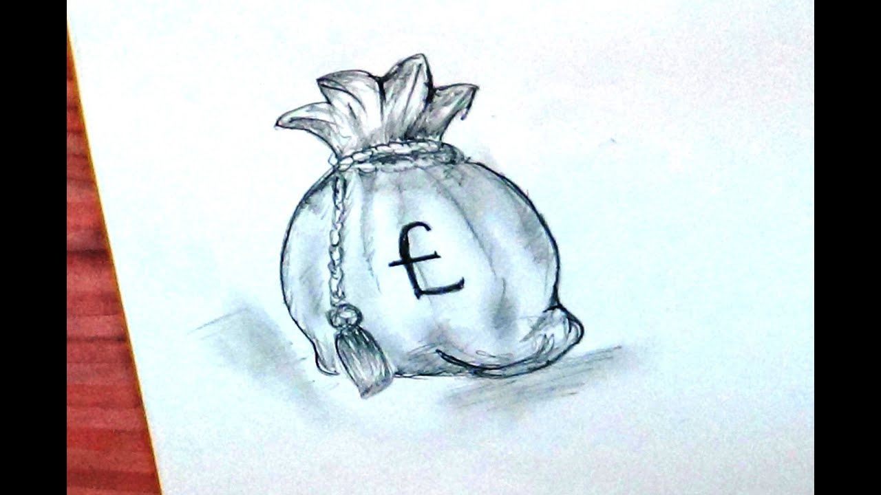 how to draw a drawstring bag money bag old style bag