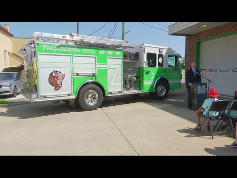 Huntington Fire Department's Rolls Out Marshall Green Fire Engine