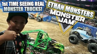ETHAN MONSTERS FIRST TIME AT A REAL MONSTER JAM ARENA SHOW! MONSTER TRUCKS IN REAL LIFE!!